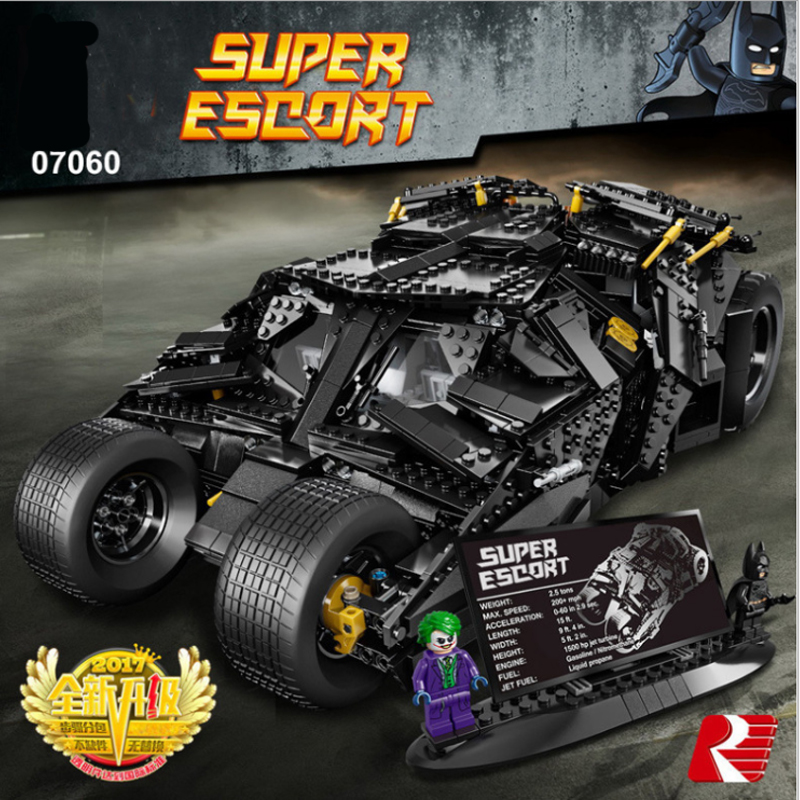 Lepin Building Blocks Super Hero 07060 1969Pcs Compatible 76023 Chariot The Tumbler Batmobile Batwing Lepin Super Heroes Batman lepin 07060 super series heroes movie the batman armored chariot set diy model batmobile building blocks bricks children toys