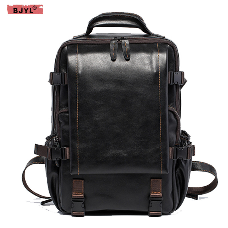 BJYL Mens backpack retro handmade head layer oil wax crazy horse leather female shoulder bags travel 15 inch laptop bagBJYL Mens backpack retro handmade head layer oil wax crazy horse leather female shoulder bags travel 15 inch laptop bag