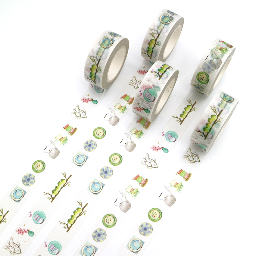 Kind-Hearted 1 Pcs Creative Teapot Cutlery Washi Tape Diy Decorative Tape Color Paper Office Adhesive Stationery Masking Tape Sticker Clearance Price