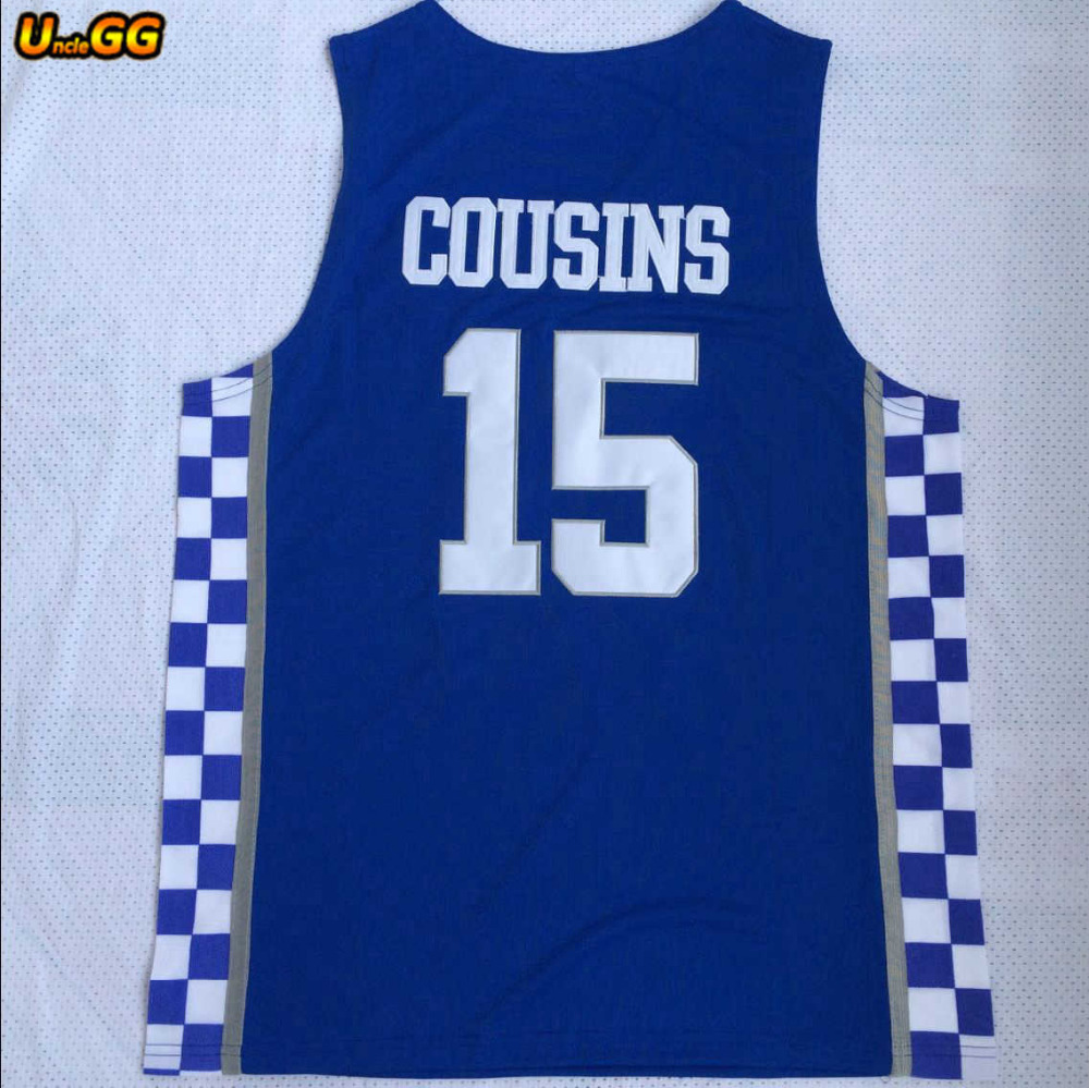 0a9828c46b9a ... uncle gg kentucky wildcats 15 demarcus cousins white blue embroidery  stitched college basketball jer