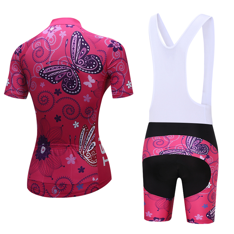 Women/'s Cycling Jersey Shorts Sets Short Sleeve Padded Butterfly Pink