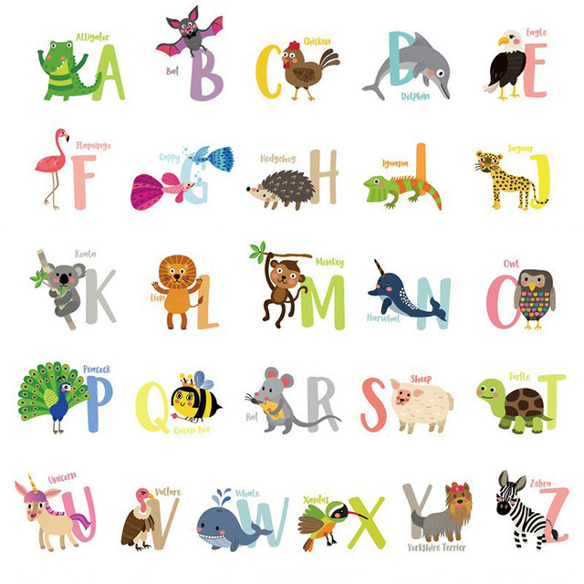 A Z Alphabet Cartoon Animals Wall Sticker Helpful 26