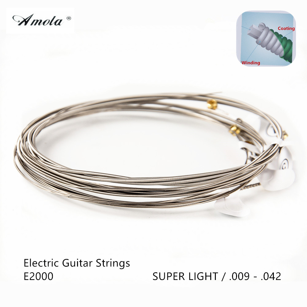 Amola E2000 Electric Guitar Strings  Coated great tone long life 009-042 inch Super Light Musical Instrument 2 Sets amola electric guitar strings set 010 009 nickel alloy regular light gauge 009 042 010 046 electric guitar strings 6strings set