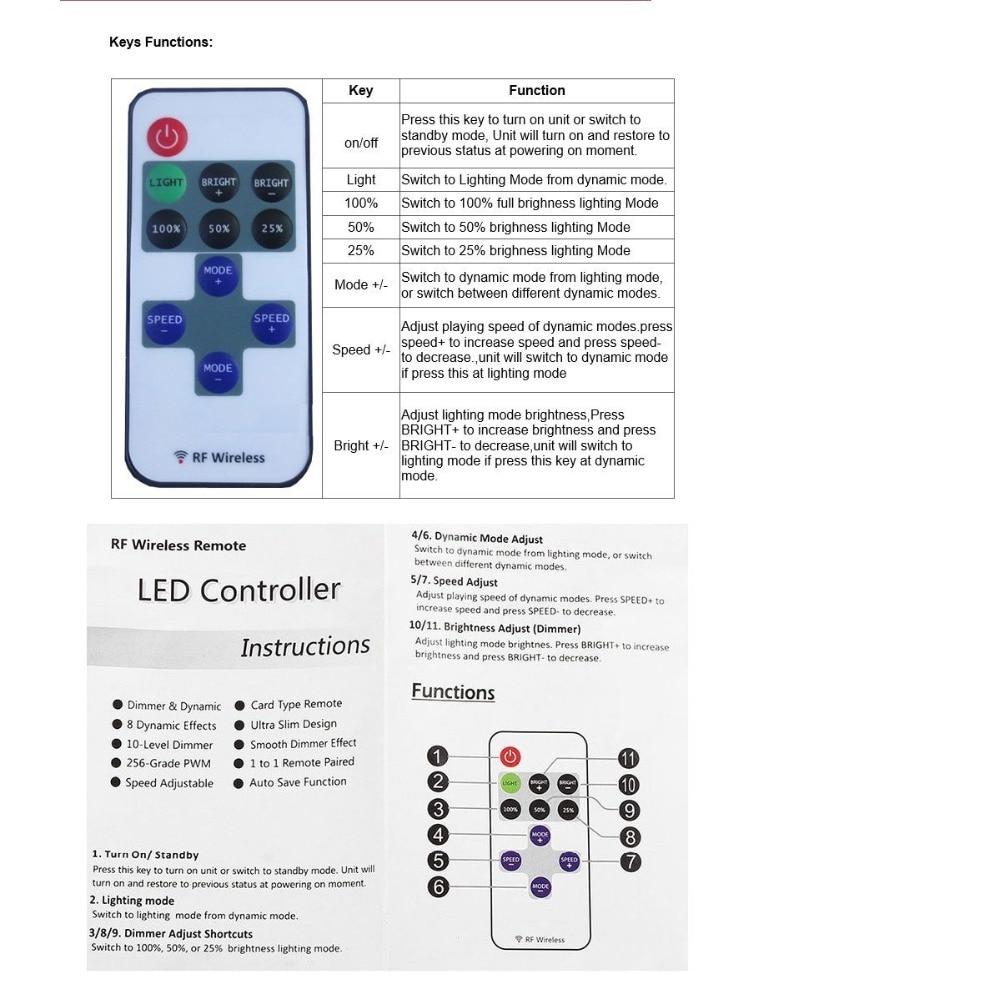 1 unidad de control remoto inalámbrico Led Mini RF controlador de atenuador Led para tira de luz de un solo Color SMD5050/3528/5730/5630/3014