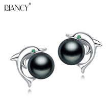 Fashion 925 sterling silver dolphin black pearl earrings Natural Freshwater Pearl stud earring for women gift 10mm natural tahitian black pearl silver stud drop earrings
