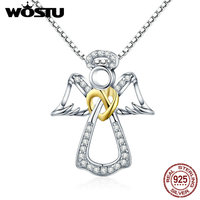WOSTU 2017 New Arrival 925 Sterling Silver Guardian Angel Chokers Necklaces For Women Fashion S925 Pendant