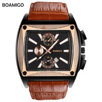 BOAMIGO Brand Fashion Creative Mens Watches Casual Rectangle Quartz Watch Genuine Leather Strap Male Wristwatches Date Masculino