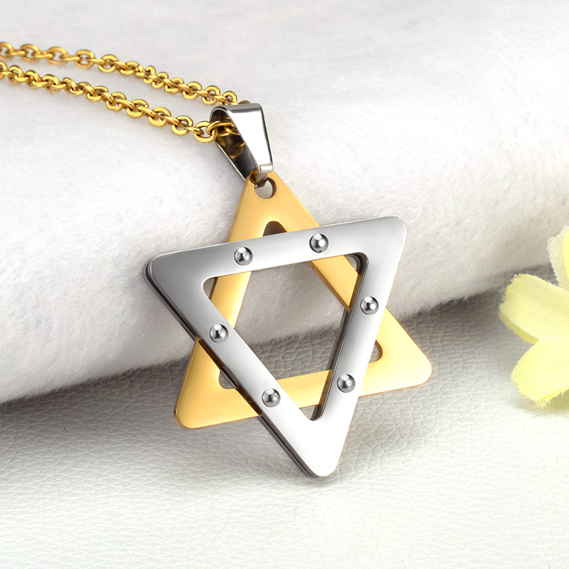 SOITIS Magen Star Of David Hexagram Pendant Israel Jewish Judaica Jewelry Necklace Stainless Steel Women Men Unique Chain
