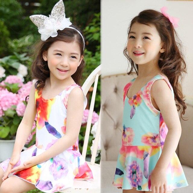 3816928ca1a7c Children s swimsuit girls one-piece skirt South Korea lovely princess  little girl baby swimsuit mother and kids swimwear dress