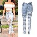 Moda Casual Mujer Nueva Vendimia de La Alta Cintura Skinny Jeans Denim Delgado Jeans Rotos Lápiz Agujero Pantalones Mujer Sexy Girls Pantalones