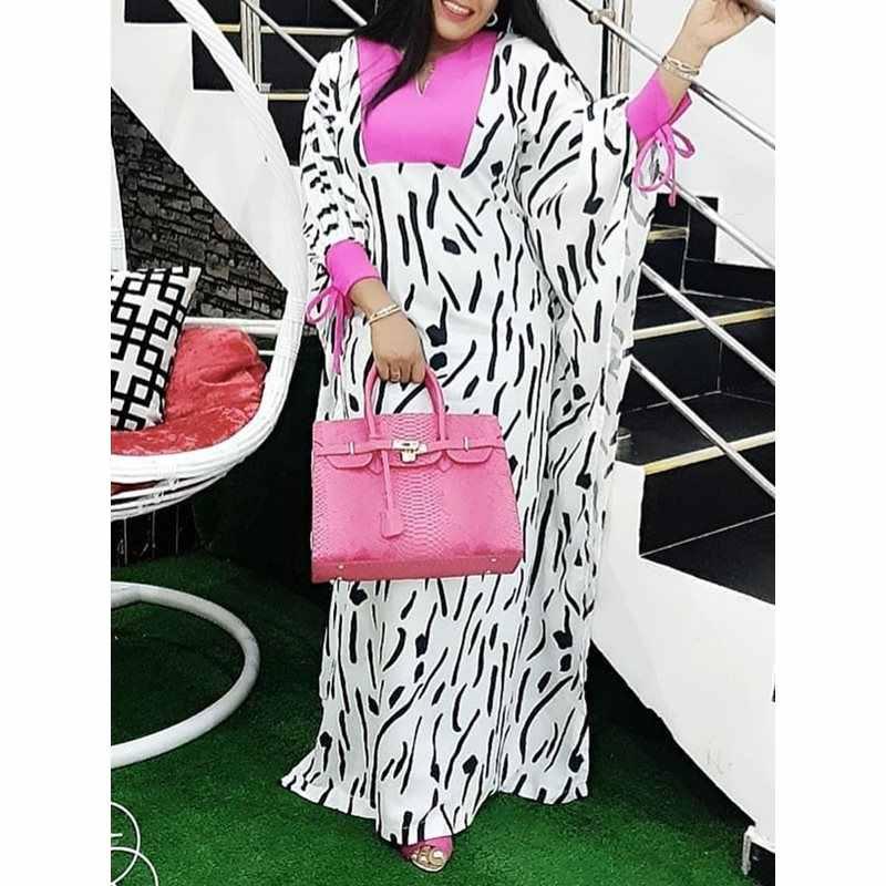アフリカストライププリントホワイトロングドレス女性特大バットウィングスリーブ色ブロックプラスサイズの女性のカジュアルマキシドレス夏
