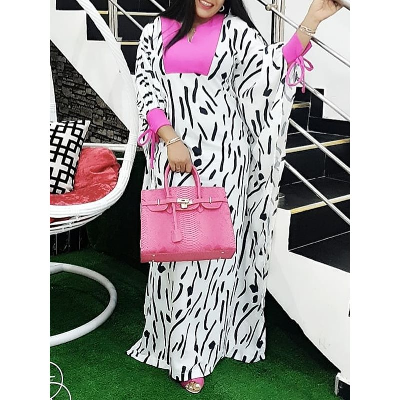 African Stripe Print White Long Dress Women Oversized Batwing Sleeve Color Block Plus Size Ladies Casual Maxi Dress Summer
