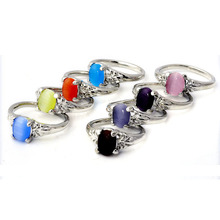 10pcs Cat Eye Stone Rings Fashion Women Jewelry Silver Plated Ring Wholesale mix lot High Quality Drop Free shipping