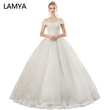 LAMYA 2019 Off The Shouler Wedding Dresses Lace Long Bridal Gown Elegant Boat Neck Gowns Vestidos De Noiva