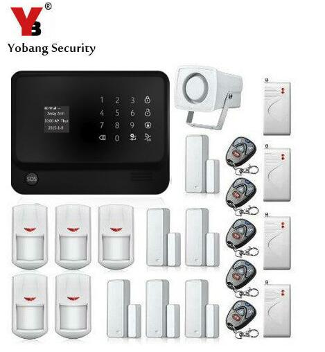 YobangSecurity Touch Keypad Smart Home Security WIFI GSM Alarm System Android IOS APP Control Magnet Door Sensor Shock Sensor yobangsecurity gsm wifi burglar alarm system security home android ios app control wired siren pir door alarm sensor