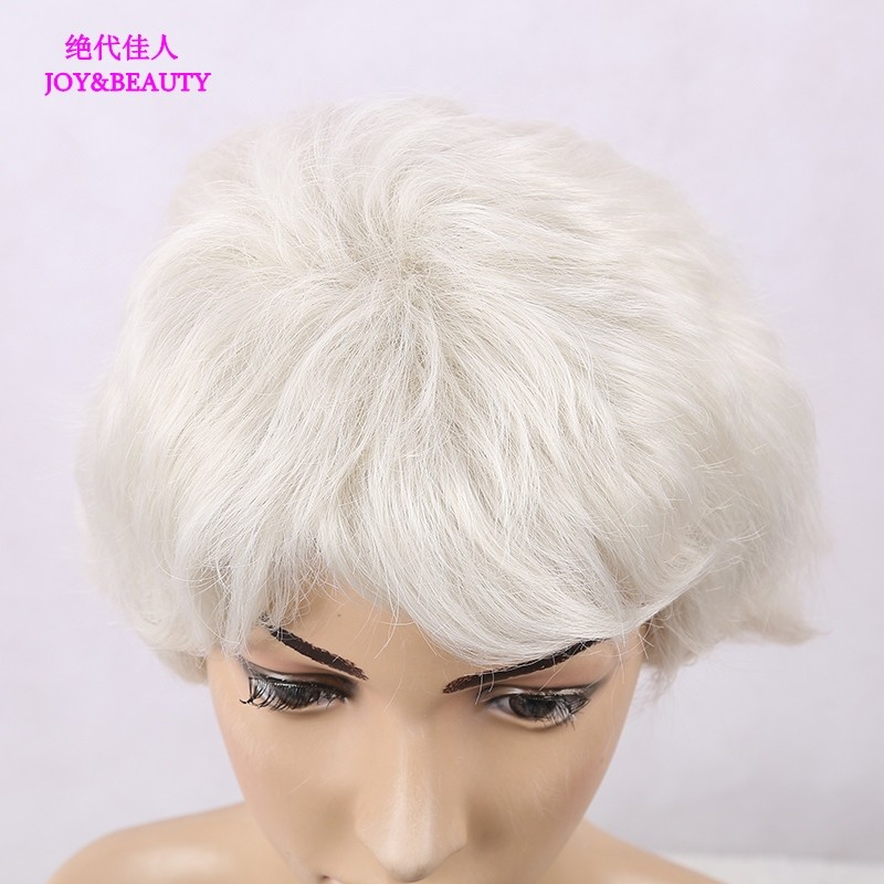 JOY&BEAUTY Hair Synthetic Hair Silver White Short Curly Wig High Temperature Fiber For Women Wigs 9inch