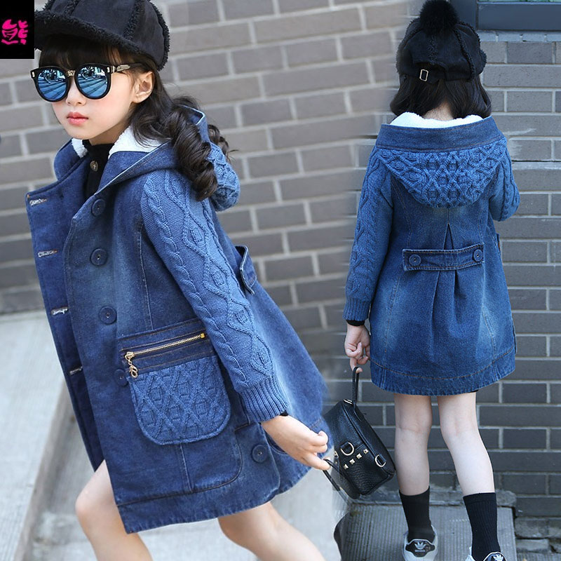 Children's clothing girls child autumn and winter 2016 denim outerwear child thickening medium-long overcoat