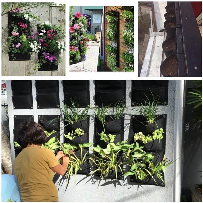 la pared interior del plantador al aire libre bolsas de crecimiento vertical de jardinera jardn colgante
