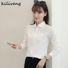 Kiliveng 2017 spring autumn new style Women Blouses long-sleeve shirt Cotton white Chiffon shirt plus size Ladies Blusas K811G