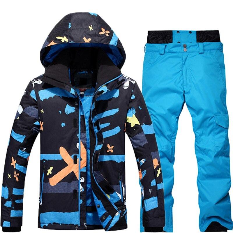 -30 для Для мужчин 2018 Новый styleski костюм комплект Сноуборд костюм Гар Для мужчин t Водонепроницаемый дышащий зимний костюм куртка + Мотобрюки
