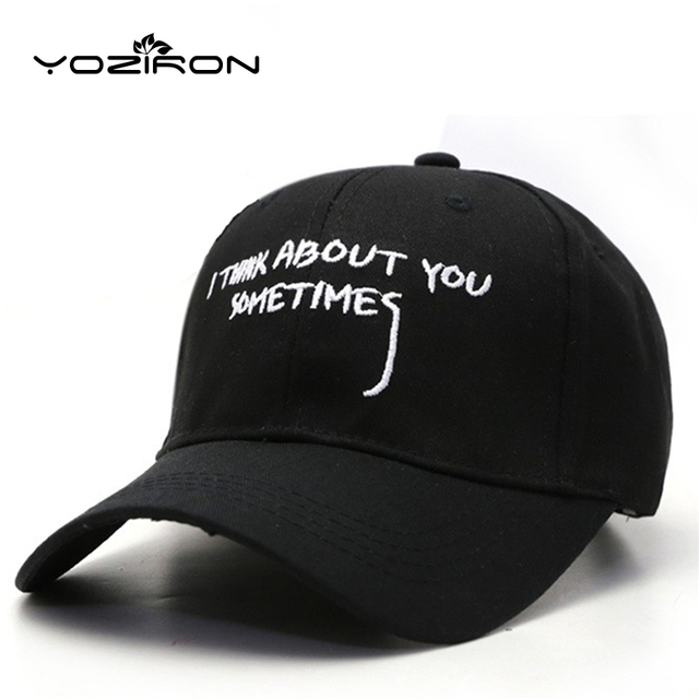 f60801d6ef6 Fashion I THINK ABOUT YOU SOMETIMES Dad Hat Snapback Hats For Men Women  Baseball Caps Drake Gorras Adult Fitted Hat Golf Cap