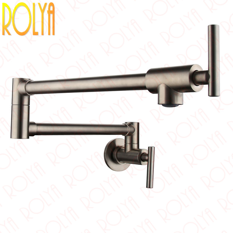 Rolya Brass Single Cold Pot Filler Kitchen Faucets Wall Mounted Extended Sink Taps Nickel Brushed