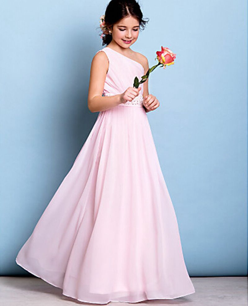 Online shop a line one shoulder floor length chiffon junior online shop a line one shoulder floor length chiffon junior bridesmaid flower girl dress junior bridesmaid with beading custom made aliexpress mobile ombrellifo Choice Image