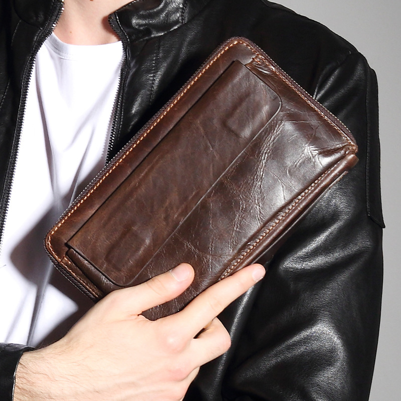 ФОТО Brand New Cowhide Men's Leather Bag Telefoon Clutch Man Genuine Leather Long Wallet Cardholder Man Purse Clutch For Phone