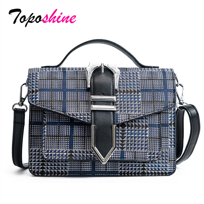 Plaid Buckle Portable Organ Bag Europe and the United States New Fashion Wild Casual Temperament Shoulder Messenger Bag Tide europe and the united states in the summer of new crystals with dew toe hit the color of the air after the air buckle with a thi