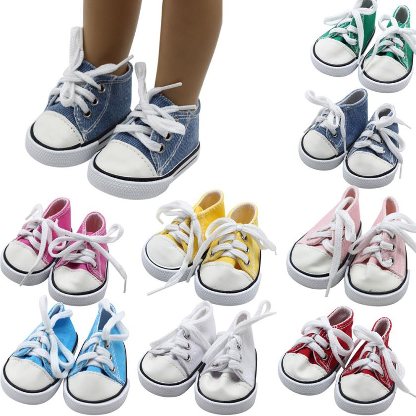 Canvas Lace Up Sneakers Shoes For 18 inch American Girl & Boy Dolls Accessories Drop Shipping Y0112