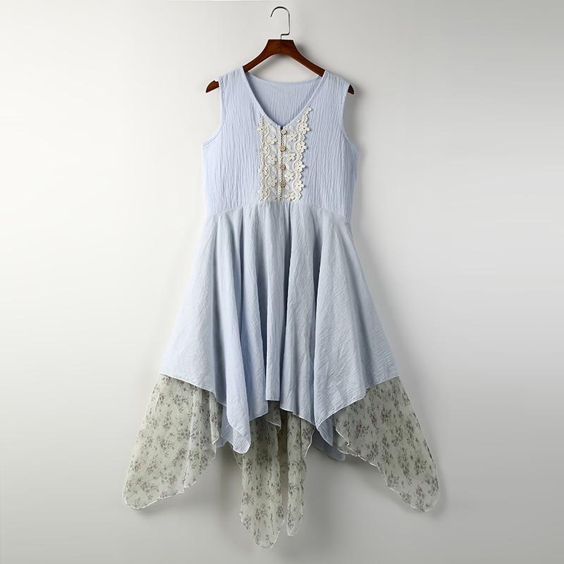 Women's Girl Layered Vestidos Summer Hippie Chiffon Embroidery Cute Boho Irregular Mori Dress Flower Casual Lolita Tunic gdYwSSq