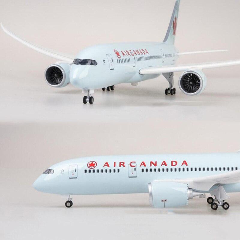 1/130 échelle 47 cm avion Boeing B787 Dreamliner avion Canada Airlines modèle W lumière et roues avion en plastique moulé sous pression