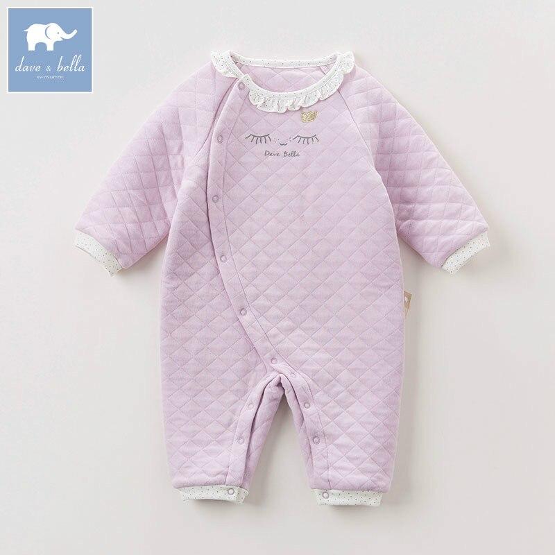 DB6044 dave bella autumn new born baby girls cotton romper infant clothes children floral romper toddler baby 1 piece