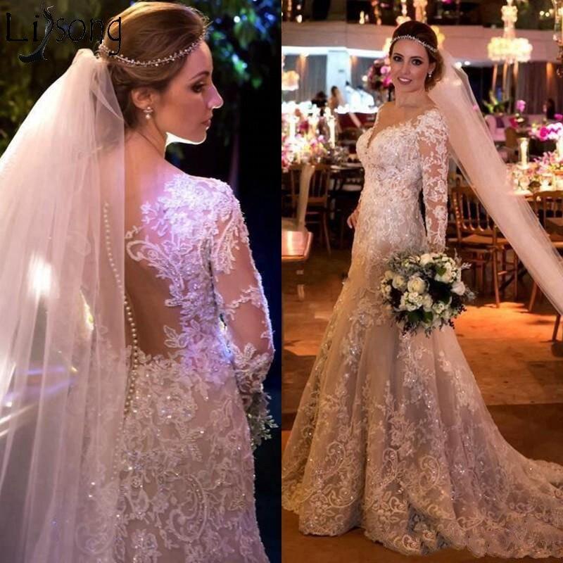 Arabia Dubai Luxury Mermaid Wedding Dress Sparkly Crystal Lace Applique Long Sleeve Wedding Gowns Vestido de