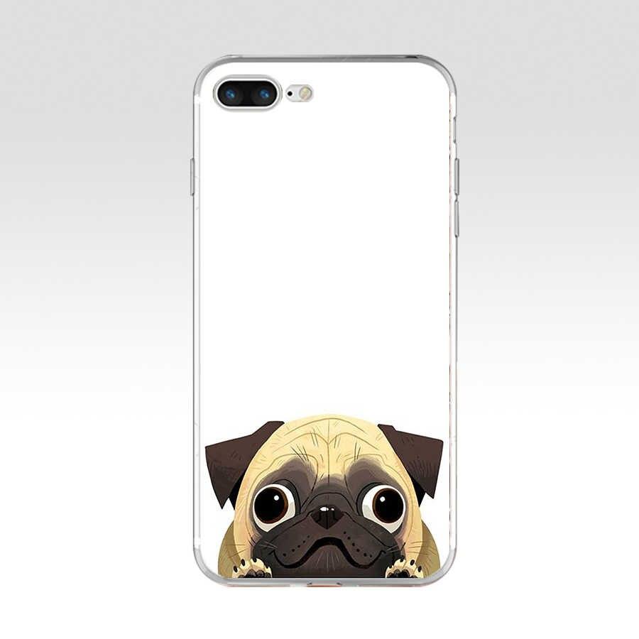 186aq eu amo pugs cão animal macio tpu silicone capa para apple iphone 6s 7 8 plus caso