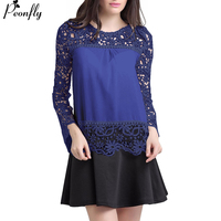 PEONFLY Ladies Color Block Casual Mini Dresses New Autumn Style Black White Patchwork Crew Neck Short Sleeve Shift Dress