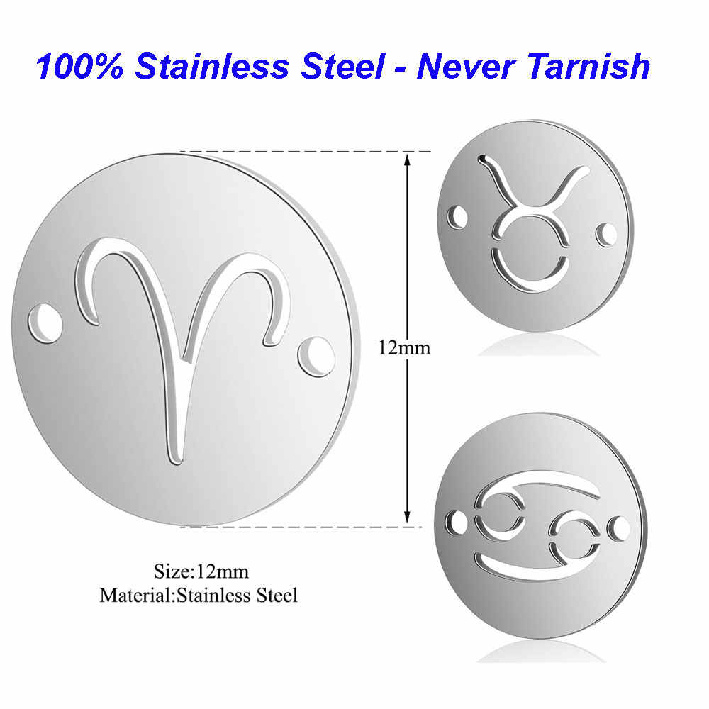 5pcs/lot 100% Stainless Steel Disc Zodiac Symbol Connector Charms VNISTAR High Polished Horoscope Connectors for Bracelets