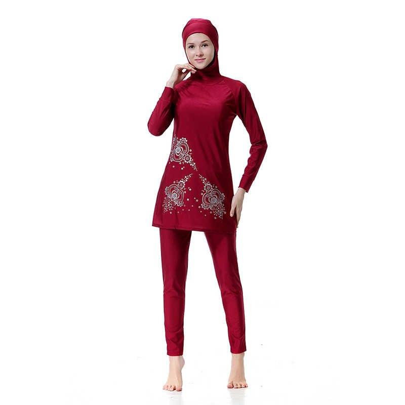 Manoswe Chất Lượng Cao Trung Đông Hồi Giáo Hồi Giáo Tay Dài In Burkinis Hijab Bao Bọc Toàn Bộ Trang Phục Đồ Bơi Đồ Bơi Thời Trang