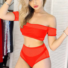 ISHOWTIENDA sexy Women Net Mesh Bikini Push-Up Pad Swimwear Bathing Swimsuit Beachwear Set No shoulder strap white badpak(China)