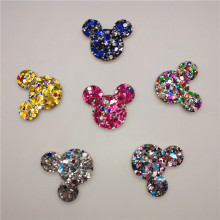 12pcs/lot Shiny Cat Head Shape Padded Appliques For Clothes Sewing Supplies DIY Craft Decoration