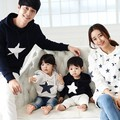 2017 Spring Autumn Family clothing Father Mother Son kids Family Matching Outfits Cotton Star Hoodies Long sleeved t-shirt