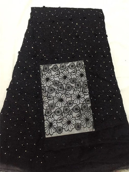 Top quality JRB-10189 african mesh glitter lace fabric embroidered tulle lace with beads and chiffon mesh nice quality