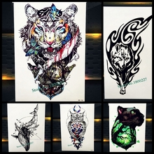 Brave Tiger Totem Temporary Tattoo Sticker Women Men Body Art Flash Tattoo, Water Color King Butterfly Fake Waterproof Tatoo Arm