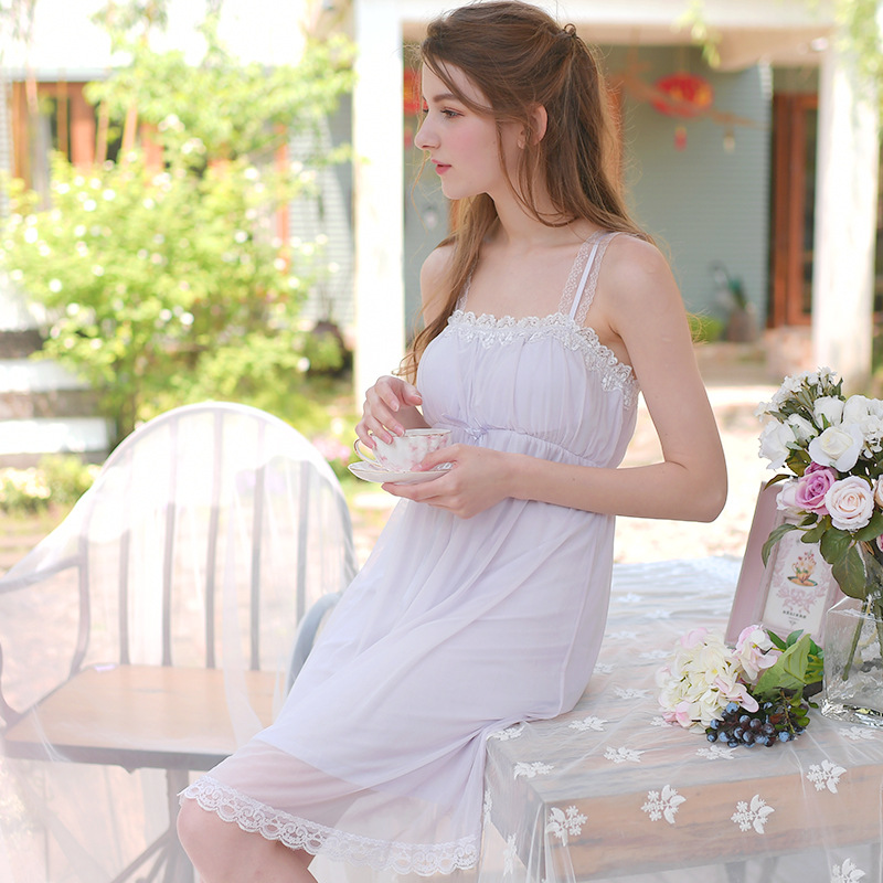 Lace   Nightgowns     Sleepshirts   Solid Sleepwear Sexy Nightdress Soft Home Dress Vintage Lace Mesh Sleep Lounge   Nightgown