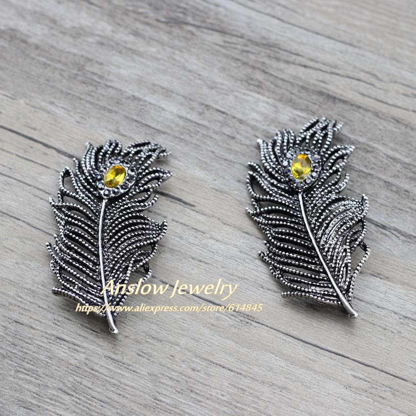Anslow Merek Kualitas Vintage Perak Crystal Bulu Wanita Bros Pin untuk Gaun Mantel Setelan Baju Pesta Pernikahan Perhiasan Hiasan
