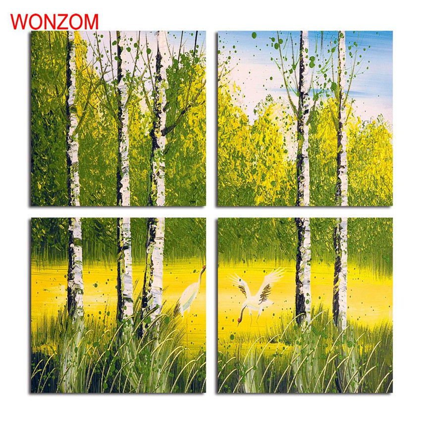 Framed 4pcs Crane Dancing Paintings Forest Canvas Art Animal Poster Retro Landscape Cuadros Decoracion Cool Christmas Gift Cheap Dance Decoracioncanvas Aliexpress