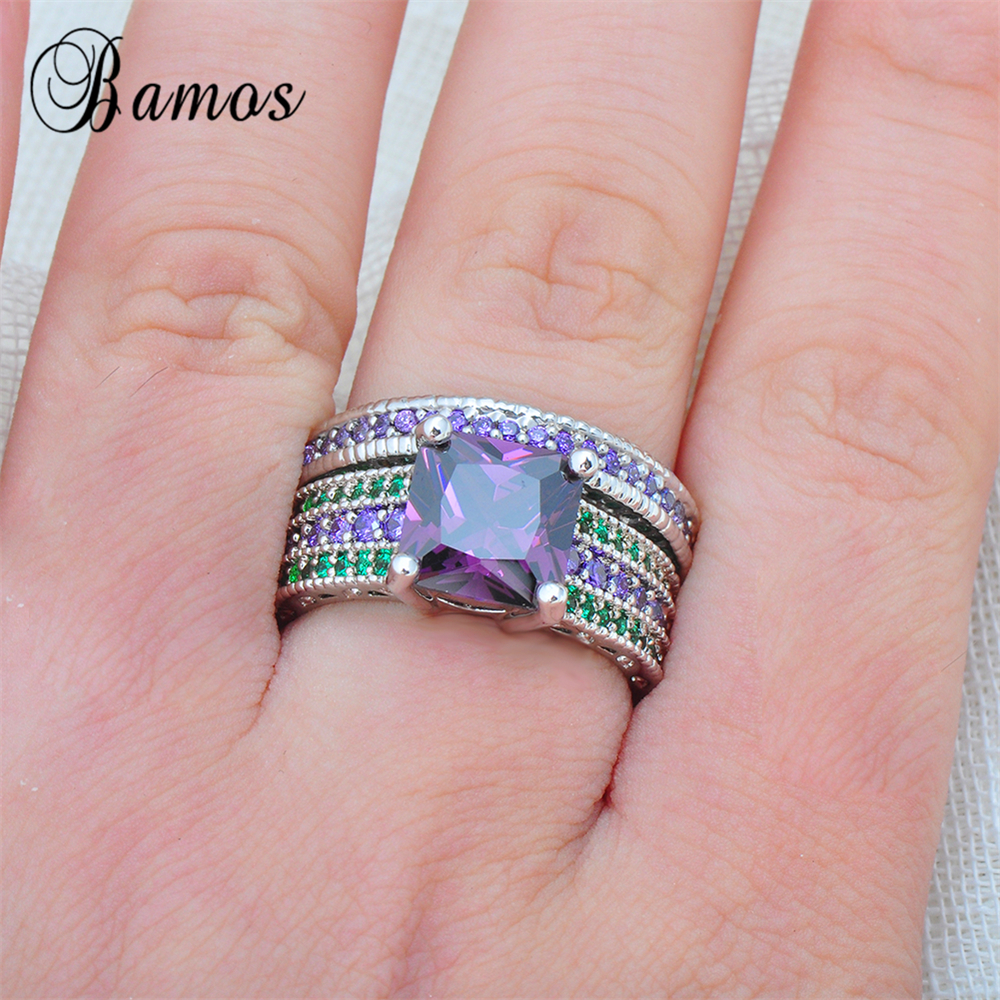 Bamos 2017 Gorgeous Male Female Purple Green Ring Set 925 Sterling ...