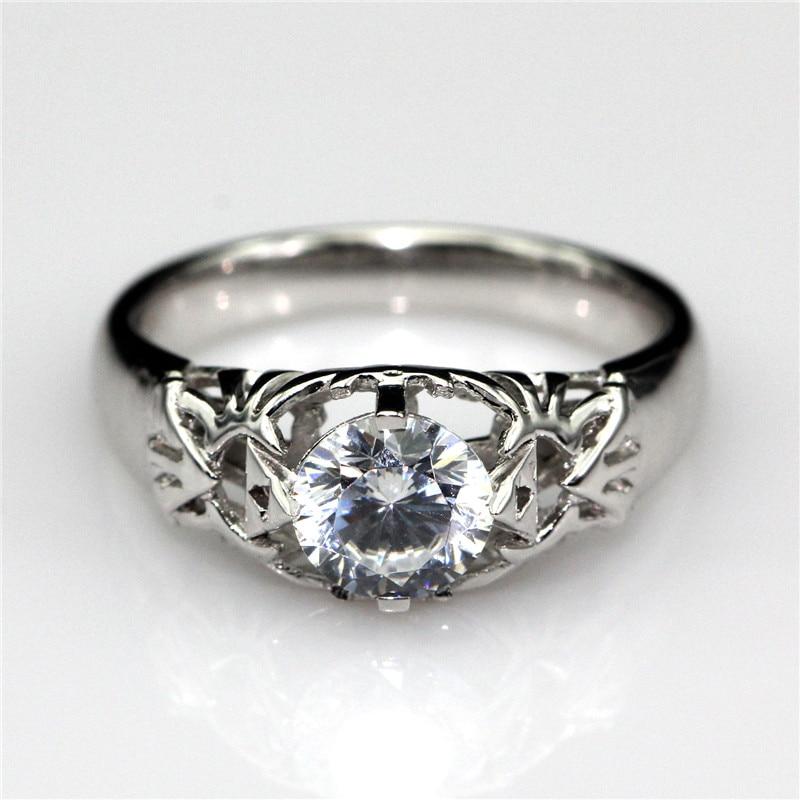lasamero round 1ct moissanites solitaire ring legend of zelda triforce inspired 9k white gold engagement wedding - Zelda Wedding Ring