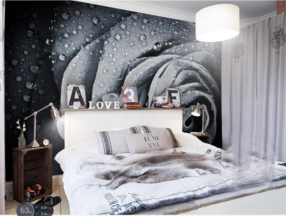 custom 3d photo wallpaper mural room non-woven sticker Black and white drops rose 3d painting sofa TV background wall wallpaper living room tv background wallpaper modern black and white flowers 3d home furnishings pure color non woven wallpaper n4