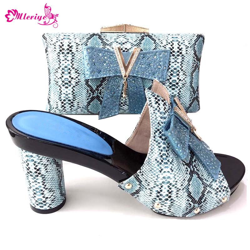 Summer Parties s.blue Nigerian Shoes and Matching Bag African Shoes and Matching Bag Italian Women Wedding Shoe and Bag Set